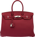 "Luxury Accessories:Bags, Hermès 35cm Rouge Grenat Togo Leather Birkin Bag with Palladium Hardware. O Square, 2011. Condition: 2. 14"" Width ..."