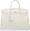 "Luxury Accessories:Bags, Hermès 40cm White Clemence Leather Birkin Bag with Palladium Hardware. N Square, 2010. Condition: 3. 15.5"" Width x..."