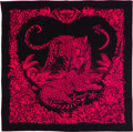 "Luxury Accessories:Accessories, Hermès 140cm Rose Vif & Bleu Noir Jungle Love Scarf. Condition: 1. 55"" Width x 55"" Length. ..."