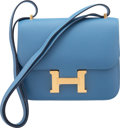 """Luxury Accessories:Bags, Hermès 18cm Blue Azur Epsom Leather Mini Constance III Bag with Gold Hardware. C, 2018. Condition: 1. 7"""" Width x 6..."""