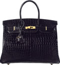 "Luxury Accessories:Bags, Hermès 35cm Shiny Black Porosus Crocodile Birkin Bag with Gold Hardware. R Square, 2014. Condition: 1. 14"" Width x..."