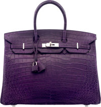 Hermès 35cm Matte Amethyst Niloticus Crocodile Birkin Bag with Palladium Hardware L Square, 2008