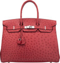 "Luxury Accessories:Bags, Hermès 35cm Rouge Vif Ostrich Birkin Bag with Palladium Hardware. J Square, 2006. Condition: 2. 14"" Width x 10"" He..."