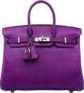 "Luxury Accessories:Bags, Hermès 25cm Violet Niloticus Lizard Birkin Bag with Palladium Hardware. J Square, 2006. Condition: 1. 10"" Width x ..."