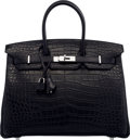 Luxury Accessories:Bags, Hermès 35cm Black Alligator, Clemence & Calf Box Leather Birkin Bag with Palladium Hardware. R Square, 2014. Condition...