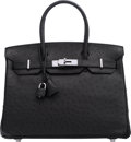 "Luxury Accessories:Bags, Hermès 30cm Black Ostrich Birkin Bag with Palladium Hardware. L Square, 2008. Condition: 1. 11.5"" Width x 8"" Heigh..."