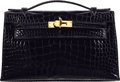 "Luxury Accessories:Bags, Hermès Shiny Black Alligator Kelly Pochette Bag with Gold Hardware. A, 2017. Condition: 1. 8.5"" Width x 5"" Height ..."