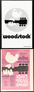 "Movie Posters:Rock and Roll, Woodstock & Other Lot (Warner Brothers, 1970). Fine/Very Fine. Cut Pressbook (22 Pages, 11"" X 17""), Herald (4 Pages, 11.75"" ... (Total: 3 Items)"