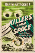 "Movie Posters:Science Fiction, Killers from Space (RKO, 1954). Folded, Fine+. One Sheet (27"" X 41""). Science Fiction.. ..."