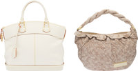 Louis Vuitton Set of Two: Ecru Leather Olympe Nimbus GM Bag & Cream Suhali Leather Lockit MM Bag Condition: 2&am...