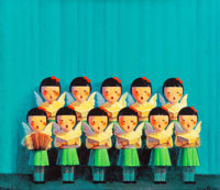 Liu Ye (b. 1964) Choir, 2001 Screenprint in colors on canvas 23-1/2 x 27-1/2 inches (59.7 x 69.9