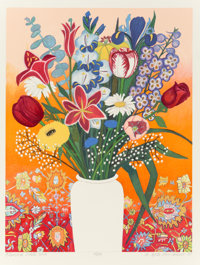 Beth Van Hoesen (1926-2010) Flowers, White Vase, 1993 Lithograph in colors on Arches paper 28-1/2