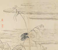 Chinese School Eight Paintings of Geese in Reeds, in the manner of Bian Shoumin, Qing Dynasty, 19th cen