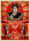 Prints & Multiples:Contemporary, Shepard Fairey (b. 1970). I Want You to Get a Job, 2012. Screenprint in colors on speckled cream paper. 24 x 18 inches (...