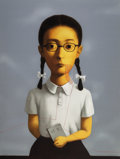 Prints & Multiples:Contemporary, Zhang Xiaogang (b. 1958). Girl, from Bloodline: Big Family, 2006. Lithograph in colors on Arches paper. 53-3/8 x 40-...