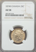 Canada, Canada: Victoria 25 Cents 1874-H AU58 NGC,...