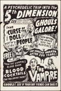 "Movie Posters:Horror, Curse of the Doll People/The Vampire Combo (Azteca Films, R-1960s). Folded, Fine/Very Fine. Spook Show One Sheet (28"" X 41.7..."