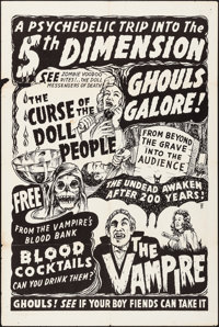 Curse of the Doll People/The Vampire Combo (Azteca Films, R-1960s). Folded, Fine/Very Fine. Spook Show One Sheet (28&quo...