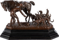 John Willis Good (British, 1845-1879) Huntsmen and Hounds, 1872 Bronze with brown patina 15 x 26