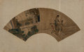 Asian, After Qiu Ying (Chinese, Ming Dynasty). Fan leaf, ink and color on paper mounted to silk. 19-1/2 x 18-3/4 inches (49.5 x 47....