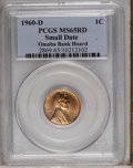 Lincoln Cents: , 1960-D 1C Small Date MS65 Red PCGS. PCGS Population (215/460). NGCCensus: (69/267). Mintage: 1,580,883,968. (#2869)...