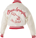 "Music Memorabilia:Costumes, Bruce Springstein ""The Boss"" Tour Jacket. White satin tour jacketwith red -and-white trim, ""Springstein the Boss"" patch sew..."