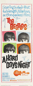 "Movie Posters:Rock and Roll, A Hard Day's Night (United Artists, 1964). Insert (14"" X 36"").Director Richard Lester filmed what would be a typical day in..."