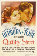 "Movie Posters:Drama, Quality Street (RKO, 1937). One Sheet (27"" X 41""). Katharine Hepburn stars in this romantic comedy as a girl who falls for a..."