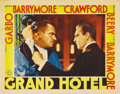 "Movie Posters:Drama, Grand Hotel (MGM, 1932). Lobby Card (11"" X 14""). A dynamic close-up of Wallace Beery and John Barrymore. Card has pinholes i..."