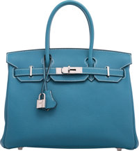 Hermès 30cm Blue Jean Togo Leather Birkin Bag with Palladium Hardware M Square, 2009 Condition: 2