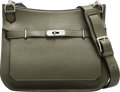 """Luxury Accessories:Bags, Hermès 28cm Vert Olive Clemence Leather Jypsiere Bag with Palladium Hardware. O Square, 2011. Condition: 2. 10"""" Wi..."""