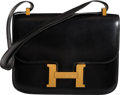 "Luxury Accessories:Bags, Hermès 23cm Black Calf Box Leather Constance Bag with Gold Hardware. Q Circle, 1987. Condition: 4. 9"" Width x 7"" H..."