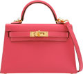 """Luxury Accessories:Bags, Hermès 20cm Rose Lipstick Chevre Leather Mini Kelly II Bag with Gold Hardware. A, 2017. Condition: 1. 7.5"""" Width x..."""