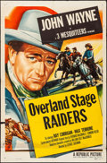 Movie Posters:Western, Overland Stage Raiders (Republic, R-1953). Folded, Fine+.