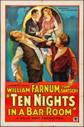 "Movie Posters:Drama, Ten Nights in a Barroom (Willis Kent Productions, 1931). Folded,Fine+. One Sheet (27"" X 41"") Style A. Drama.. ..."