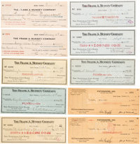 Vintage Pulp Authors and Artists Cancelled Frank A. Munsey Co. Checks Group of 10 (1912-41).... (Total: 10 Items)