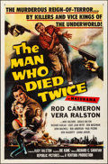 "Movie Posters:Crime, The Man Who Died Twice & Other Lot (Republic, 1958). Folded, Very Fine. One Sheets (2) (27"" X 41""). Crime.. ... (Total: 2 Items)"