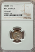 1863-S 10C -- Cleaned -- NGC Details. AU. NGC Census: (2/7). PCGS Population: (0/10). CDN: $3,000 Whsle. Bid for problem...