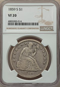 Seated Dollars: , 1859-S $1 VF20 NGC. NGC Census: (2/126). PCGS Population: (12/227). CDN: $1,250 Whsle. Bid for problem-free NGC/PCGS VF20. ...