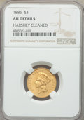 Three Dollar Gold Pieces, 1886 $3 -- Harshly Cleaned -- NGC Details. AU. NGC Census: (4/121). PCGS Population: (17/158). CDN: $2,400 Whsle. Bid f...