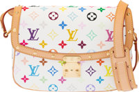 Louis Vuitton White Monogram Multicolore Coated Canvas Sologne Bag with Gold Hardware Condition: 2 <