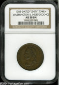 1783 1C Washington Unity States Cent AU58 NGC. Baker-1, R.1. A lightly circulated golden-brown representative with a sho...