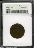 1794 1/2 C Fine 12 ANACS. Small Letters Edge, B-2b, C-2a, High R.2. All legends are bold aside from weakness on the NI i...