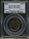 1804 1/2 C Plain 4, No Stems MS62 Brown PCGS. B-10, C-13, R.1. The chocolate-brown color occasionally cedes to deeper st...