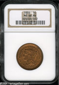 1855 1C Upright 5s MS66 Red and Brown NGC. Much mint Red is evident throughout the obverse, while the reverse has toned...