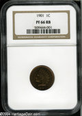 Proof Indian Cents: , 1901 1C PR66 Red and Brown NGC....