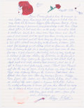 Autographs:Letters, 1996 Blaze Starr Handwritten Letter with Intriguing JFK and Lincoln Content....