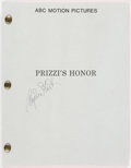 Autographs:Letters, Angelica Houston Signed Prizzi's Honor Script....
