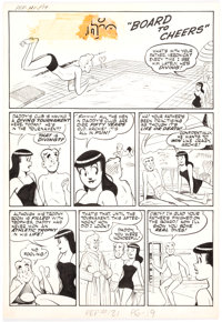 "Harry Lucey Pep Comics #121 Complete 3-Page Story ""Board to Cheers"" Archie and Veronica Original Art (Archie C..."
