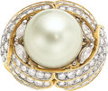 Estate Jewelry:Rings, South Sea Cultured Pearl, Diamond, Platinum, Gold Ring...